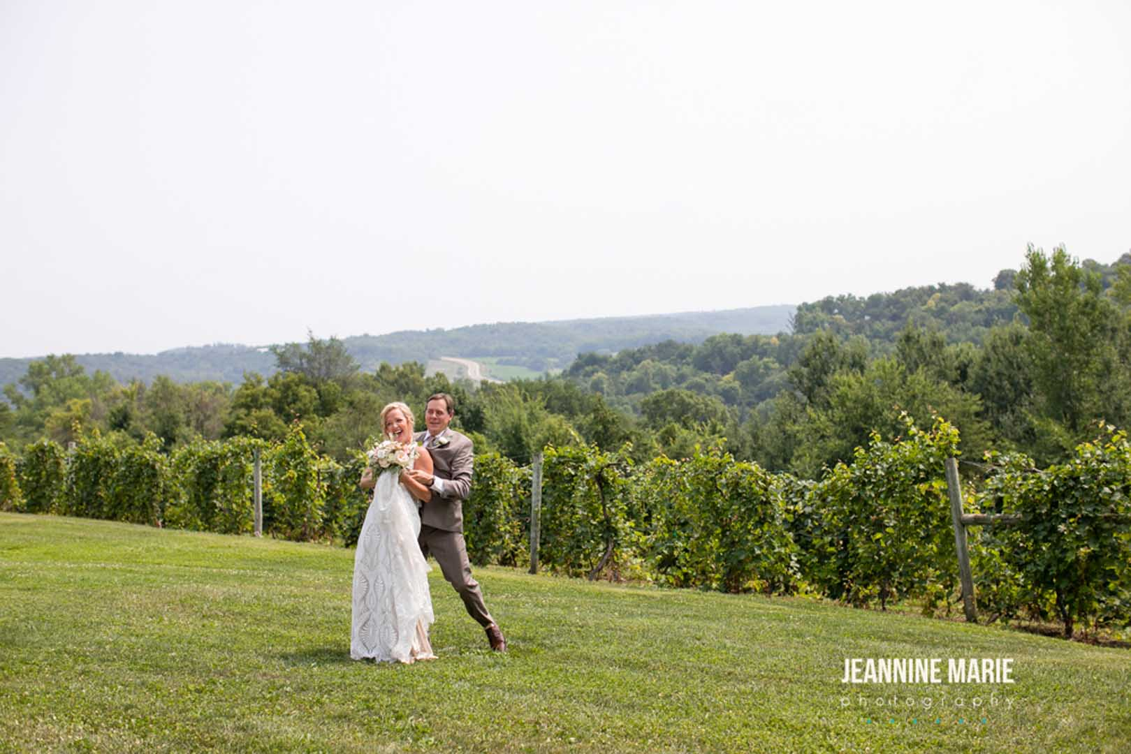 Wedding day overlooking the trees in Sogn valley in southern Minnesota